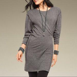 Cabi Long Sleeve Put On Gray Sweatshirt Dress